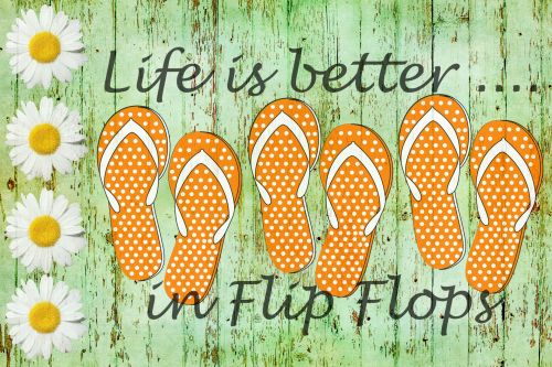 Flip Flops Wood Background