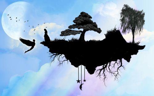 sala, fantazija, dangus, angelas, moteris, fikcija, plūduriuojanti salos fantazija