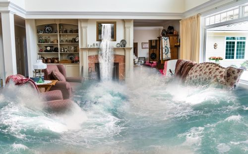 flooding surreal living room