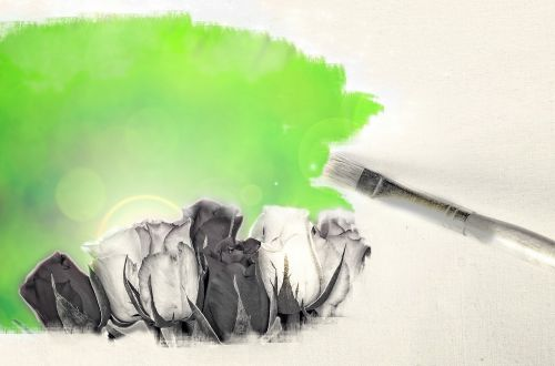 floral painting brush