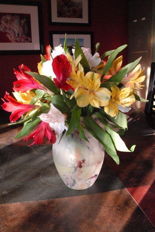 vazos, gėlės, išdėstymas, spalvos, šviesa, gėlių išdėstymas