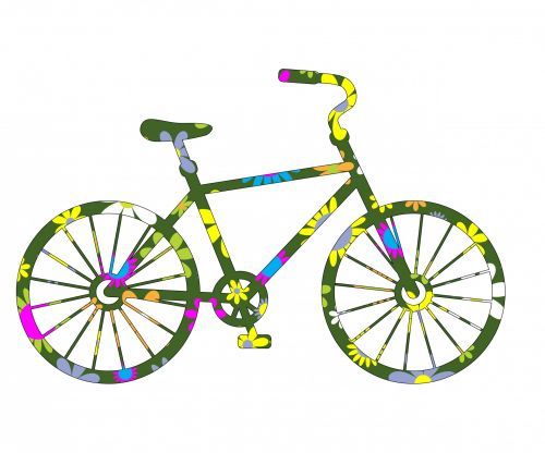 Floral Bicycle Clipart