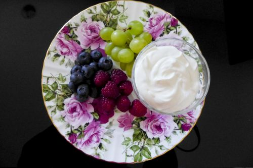 Floral Plate Of Fruit