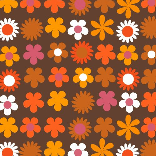 Floral Retro 70s Background