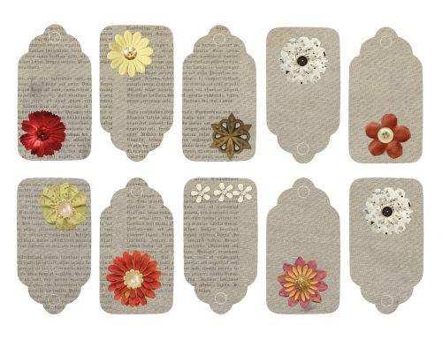 flower vintage tags