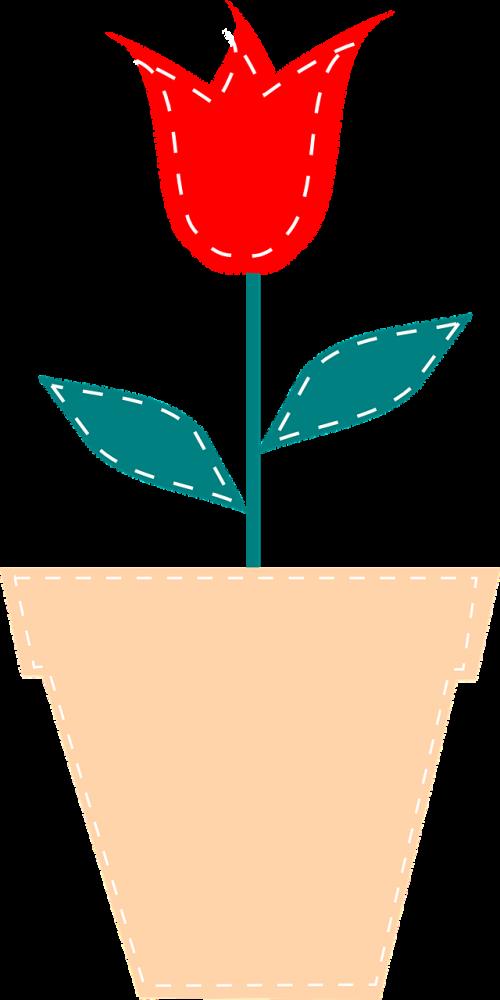 gėlė,augalas,raudona,žalias,lapai,puodą,tulpė,gamta,stiebas,susiuvimas,nemokama vektorinė grafika