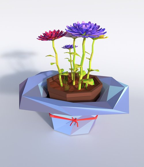 flower  lowpoly  artistically