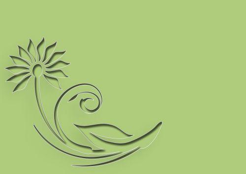 flower greeting card green