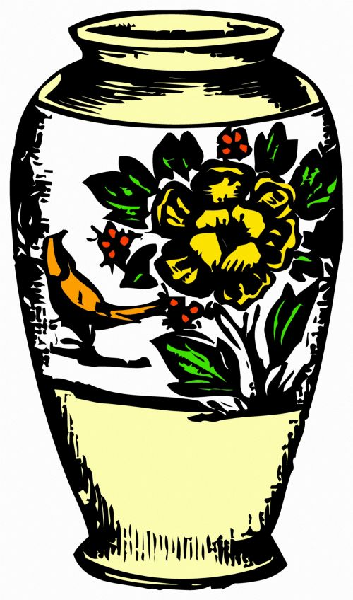 vintage,illustration,colorful,freeexpression,imaginatively,drawing,vase,flowers,decoration,classic,flower vase
