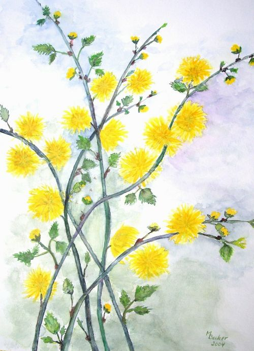 flowers branches painting