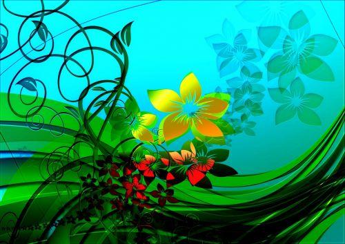 flowers kringel lines