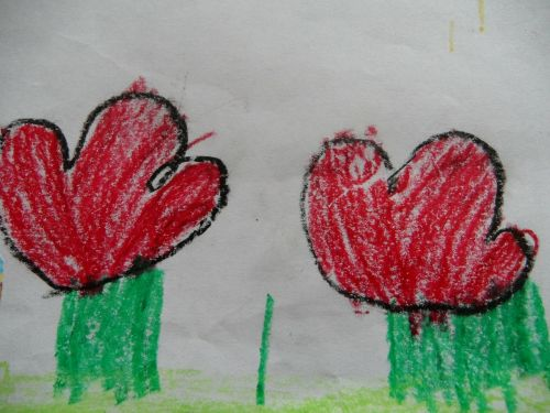 flowers children drawing red flowers