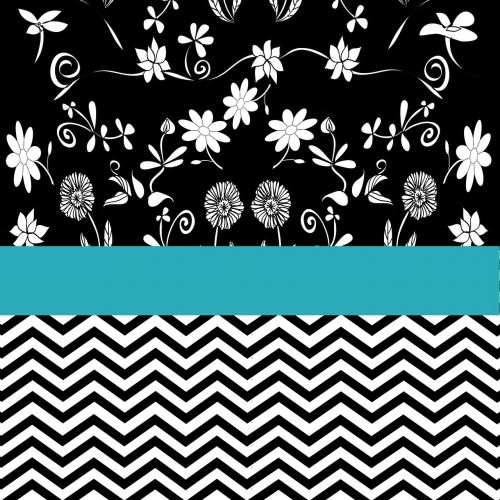 flowers turquoise pattern