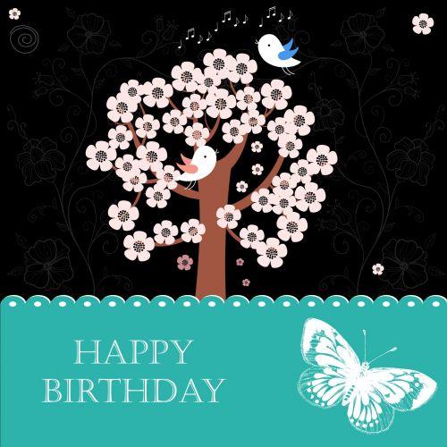Flowers & Birds Birthday Card