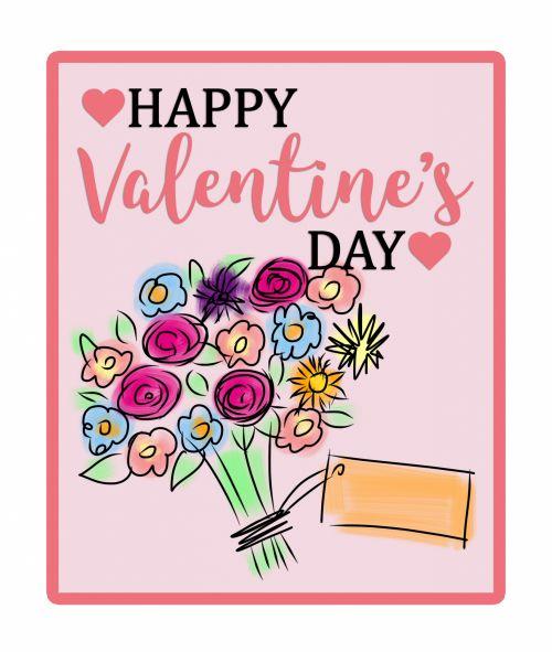 Flowers Bouquet Valentine Card