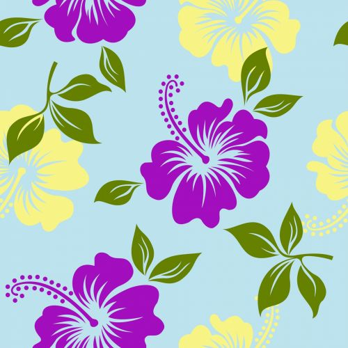 Flowers Hibiscus Background Pattern