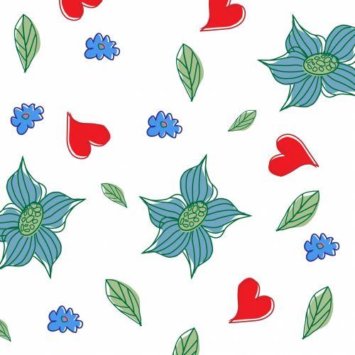 Flowers, Leaves, Hearts Wallpaper