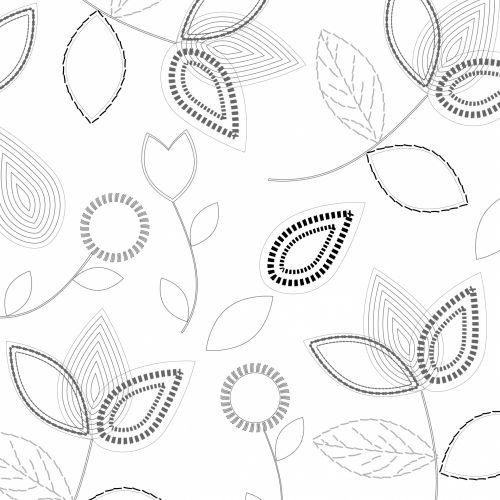 Flowers, Leaves Line Art