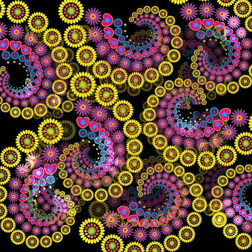 Flowers Spiral Fractal Background