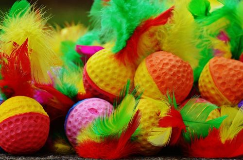 foam balls feather colorful