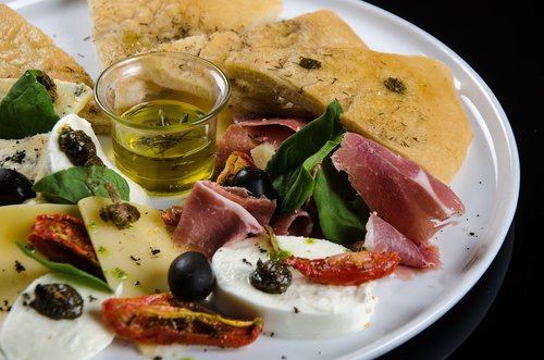 foccacia with olives  tasting  gourmet food