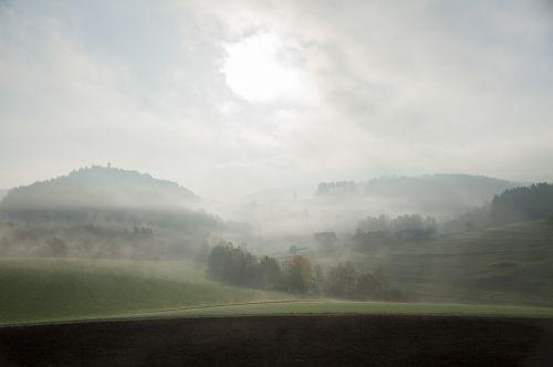 fog landscape hill