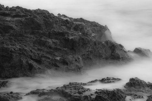 fog sea rock