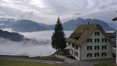 fog mountains central switzerland