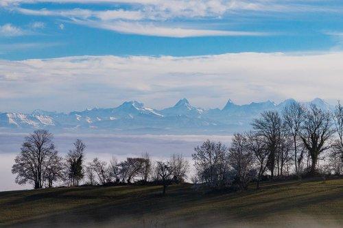 fog  mountain range  eiger