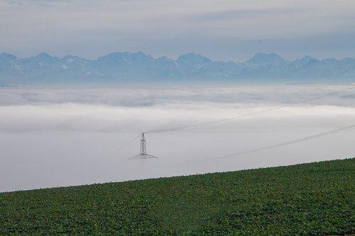 fog  sea of fog  strommast