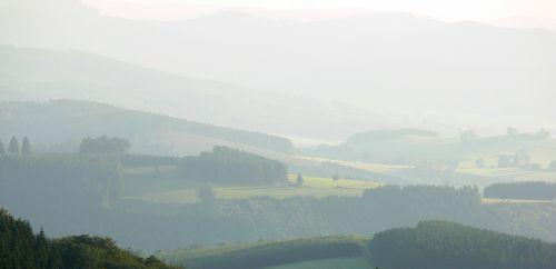 fog mist valley morning