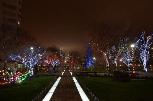 foggy mysterious christmas lights