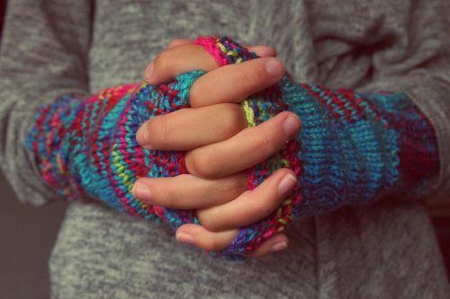 folded hands fingers gloves