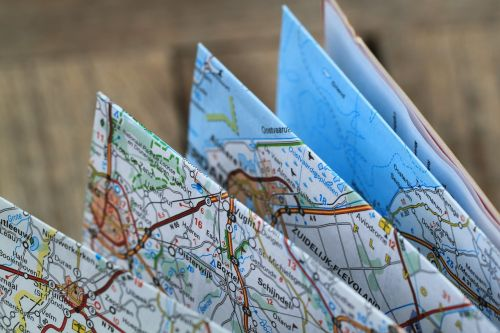 folding map road map travel route