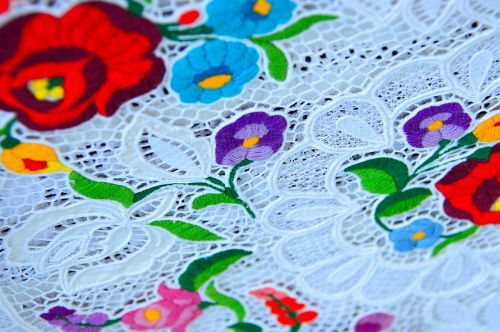 folk art color textile