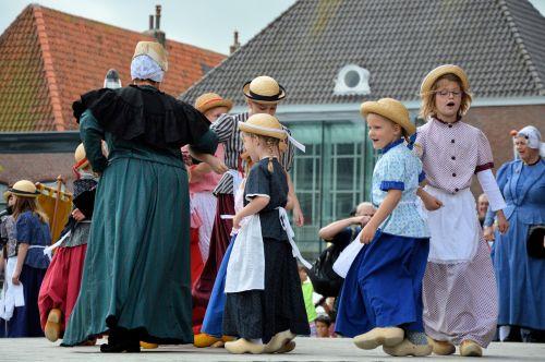 kostiumai, tradicija, istorija, regioninė & nbsp, suknelė, Westfriesland, schagen, šiaurė & nbsp, holland, holland, šokis, vaikas, vaikai, folkloras
