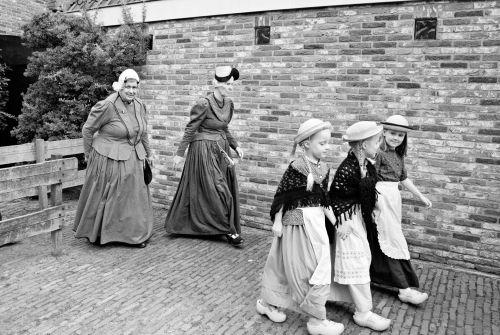 folkloras, Šiaurė, holland, Nyderlandai, kostiumas, istorija, paveldas, autentiškas, 2015 m., įvykis, paradas, juoda, balta, folkloras schagen 2015