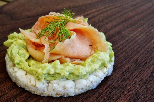 food salmon rice cakes