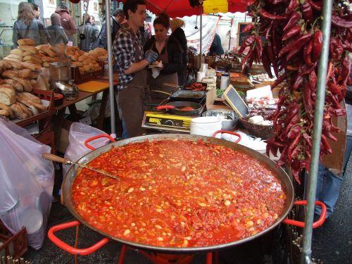 street food market big pan