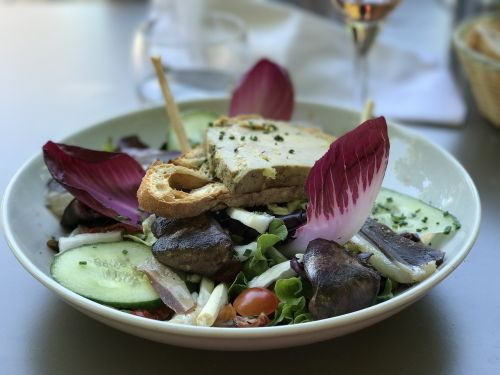 food,french cuisine,margret duck,french,gourmet,salad,restaurant,duck,canard,plate,meal