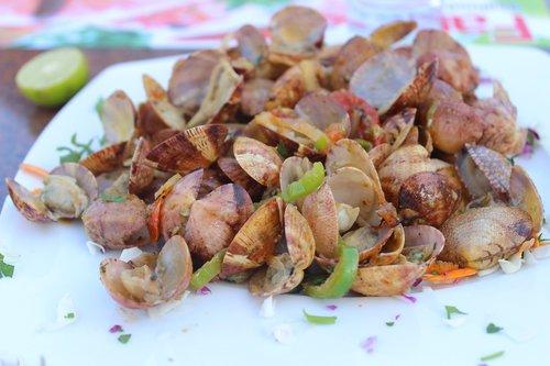 food  salad  sea