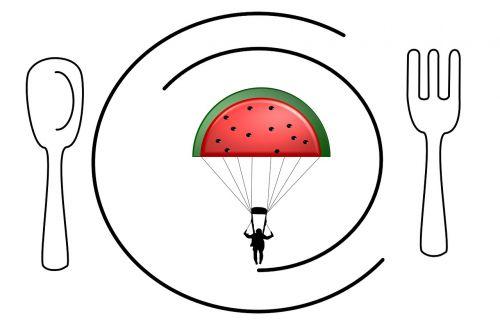 food design vector parachute fruit on plate vector