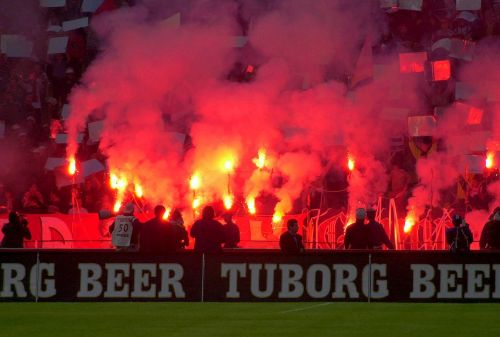football stadium red torch