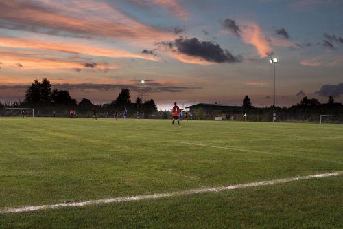 football match twilight floodlight game