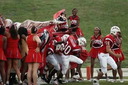 football team cheerleaders pre-game