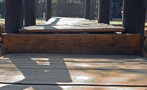 Footbridge With Wooden Planks