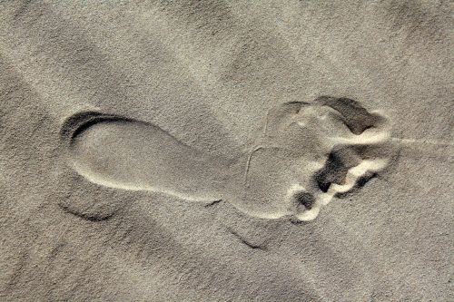 footprint sand beach