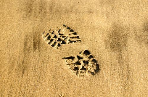 Footprint Shoe On Beach