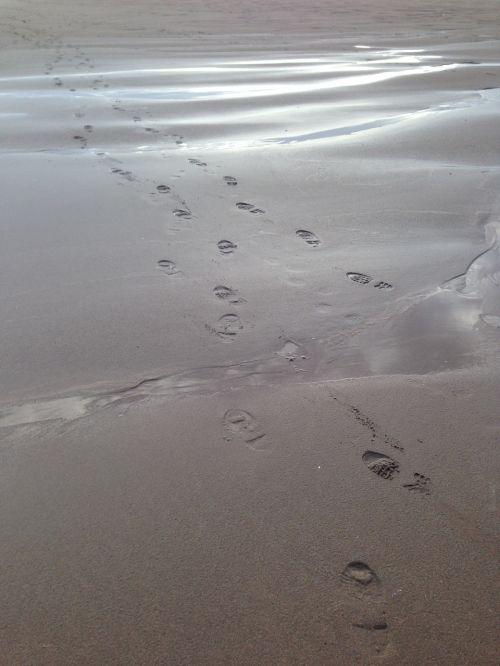 footprints sand beach
