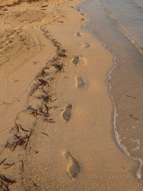 footprints beach sea